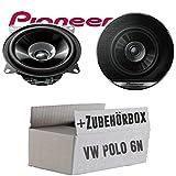VW Polo 6N - Lautsprecher Boxen Pioneer TS-G1010F - 10cm Doppelkonus 100mm PKW KFZ Auto 190W PAAR Einbausatz - Einbauset