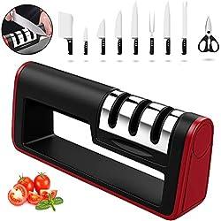 Nasharia 3-en-1 Aiguiseur, Aiguiseur de Cuisine Professionnel pour Couteaux en Acier Inoxydable et céramique de Toutes Tailles (Base Anti-dérapante)