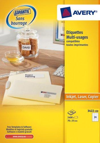 Avery 3422–100Weiß Multi Etiketten für Laser Tintenstrahldrucker und Kopierer 70x 35mm Box...