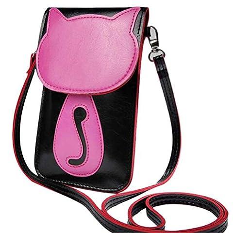 Bluester Cute Cartoon Purse Bag Leather Cross Body Shoulder Phone Coin Bag (Black)