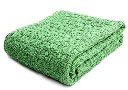 SonnenStrick 3009002 Babydecke/Kuscheldecke / Strickdecke aus 100{51e35b85897d8203c9fee6069353ffb6e21e91dffc8b20ce858b696a6000de4a} Bio Baumwolle kba Made in Germany, 100 x 90 cm, grün