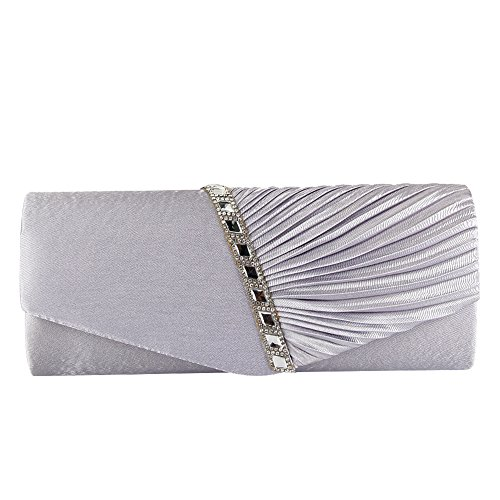 ele ELEOPTION Damen Plissee Satin Diamante Damen Umschlag Handtasche Hochzeit Braut Prom Handtasche Clutch Bag Abend Party Geldbörse Kette Tasche