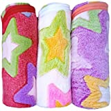 BRANDONN 3PC Premium Quality Heart Printed Softy Corel Baby Blanket Cum Wrapping Sheet Cum Towel Set(Pack Of 3, Multicolour)