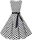 bbonlinedress 50s Retro Schwingen Vintage Rockabilly Kleid Faltenrock White Black Big Dot L