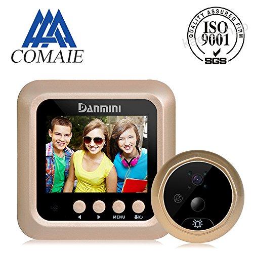 Sonnette numérique connectée avec visiophone LCD, avec caméra à détecteur de mouvement IRP, vision nocturne, grand angle de 160 °, et écran couleur 1080P 2,4