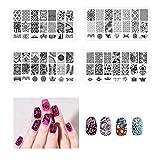 Frcolor 4pcs Nail Art Stamping Stempel Vorlagen Maniküre Platten drucken Schablonen Set