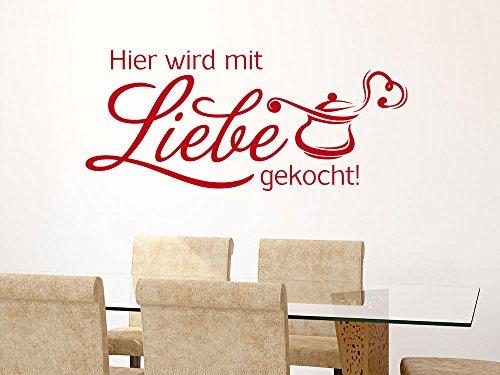 Wandtattoo Wandaufkleber Tattoo Spruch für Küche hier wird mit Liebe gekocht (205x90cm // 958 baby doll)