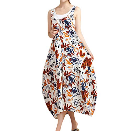 SEWORLD Kleid Damen Sommerkleid Strandkleid Blumen Ärmelloses Langes Kleid aus Baumwolle in Übergröße Lässige Gürtel Camis Mini Kleid Abendkleider Trägerkleid(Orange,EU-44/CN-3XL) Pleated Faux Wrap