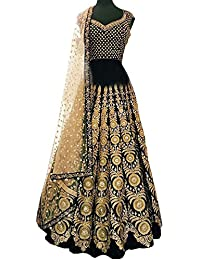 Swara Fashion Women's Banglori Silk With Blouse Piece Lehenga Choli(SFP-186_Black)