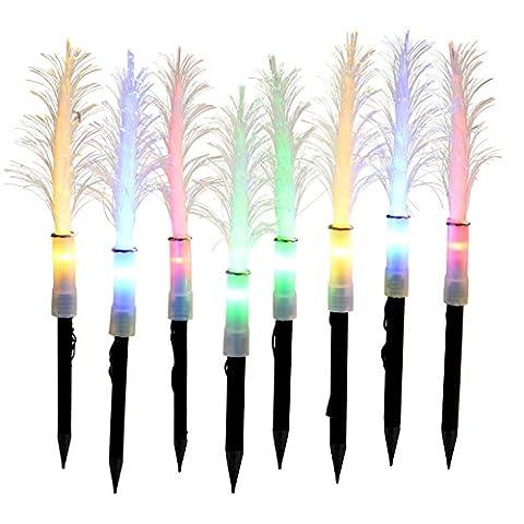 WeRChristmas Künstlicher Mini-Weihnachtsbaum, solarbetrieben, Glasfaser, 25cm, verschiedene Farben, 8Stück