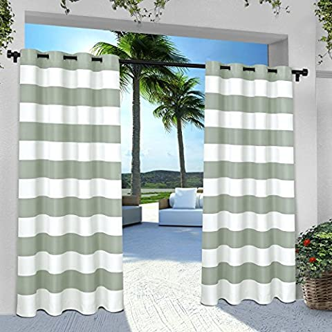 Exclusive Home Vorhänge eh8002–022–96G INDOOR/OUTDOOR Cabana Stripe Tülle Top Fenster Vorhang Panel, Sea Foam, 54x Beton, Set von (1,25 Rod Set)