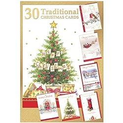 Tarjetas de felicitación navideñas de 30 unidades - Tarjetas de Navidad tradicional de varios colores