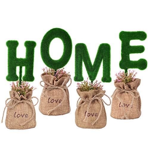 WooooW Ltd Künstliche Topfpflanzen für Badezimmer/Heimdekoration, kleine künstliche Grünpflanzen, Set hausgemachte Ornamente für Zuhause, Tisch, Fenster, Schreibtisch