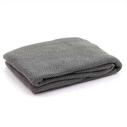 DrCosy 100% Baumwolle Decke Thermische Gestrickte Decke Sofa Throw Gestrickte Tagesdecke Soft Bettdecke Gemütliche Warme Couch Abdeckung Reise Rest Decken 85cmx140cm (Decke Einfach Baby Stricken Muster)