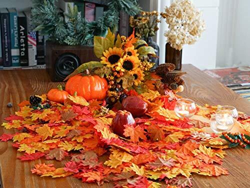 HENMI Ahornblatt, künstliche Ahornblatt,ünstliche Herbst-Ahornblätter Ahornblatt Für Halloween,Thanksgiving -