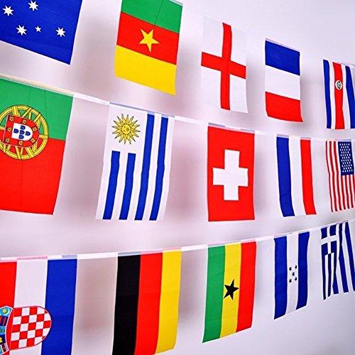 Bunting Flaggen (Wingbind 2018 Russland WM Fußball Bunting Garland Partei Bar Decor 32 Nationalmannschaften Flaggen Welt Fahnen Wimpel Banner)