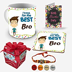 I know I am the best brother | rakshabandhan gift for brother | rakhi gift for sister | gift for rakshabandhan | gift for rakhi Superior quality Ceramic Mug Capacity: (350 ML), Coaster and Greeting Card for Raksha Bandhan Gifts.