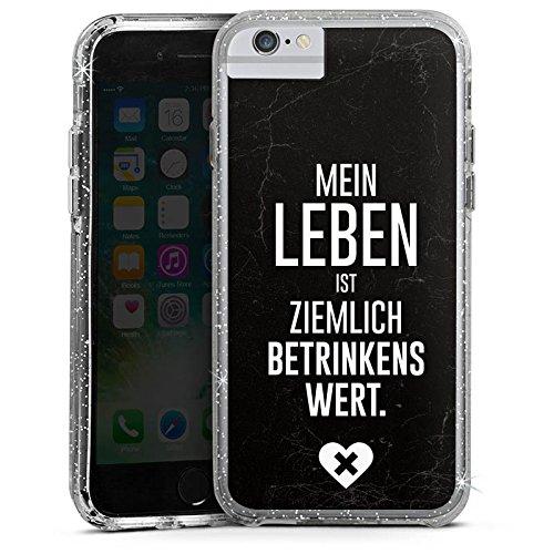 Apple iPhone X Bumper Hülle Bumper Case Glitzer Hülle Party Feiern Sayings Bumper Case Glitzer silber