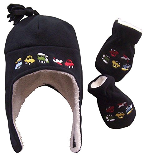 n' Ice Caps Boys Sherpa Lined micro Fleece embroidered Hat