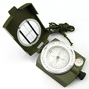 Generic Lens Compass 3 in 1 Military Marching Army Outdoor Camping 360 Lensatic Green