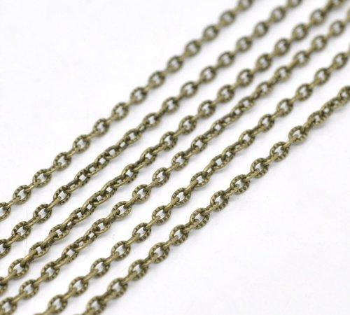 SiAura Material 10m Gliederkette Halskette Statement Meterware bronzefarben 4x2,5mm