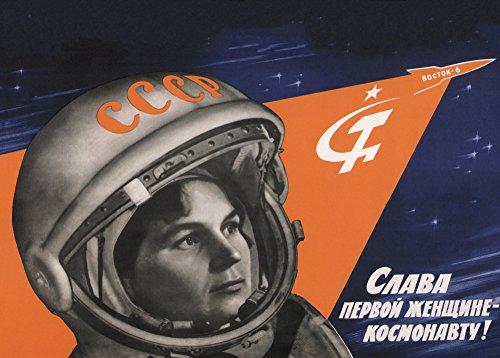 Poster Vintage-Stil Sowjetunion Propaganda Raumfahrt, russischer Text (zu Ehren der ersten weiblichen Kosmonautin) Valentina Tereshkova, 250g/m²-Papier, glänzend, Reproduktion, A3