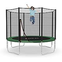 Ampel 24 Outdoor Trampolin 305 cm blau oder grün | Gartentrampolin mit verstärktem Sicherheitsnetz | Belastbarkeit 150 kg | Netz mit 8 Stangen | Extra Schutz