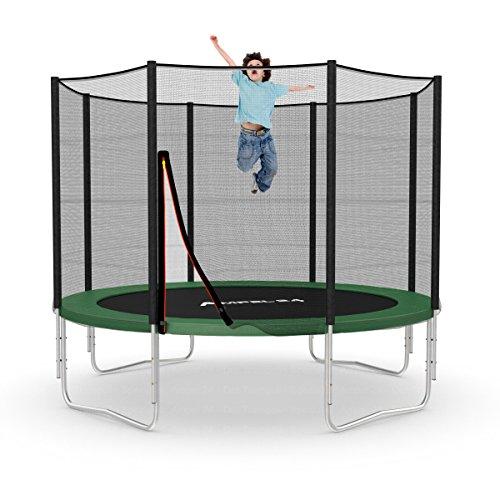 Ampel 24 Outdoor Trampolin Ø 305 cm grün | Gartentrampolin komplett mit verstärktem Netz | belastbar bis 150 kg