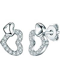 Rafaela Donata - Puces d'oreilles coeur - Argent sterling 925 oxyde de zirconium, boucles d'oreilles oxyde de zirconium, boucles d'oreilles, bijoux en argent - 60837076