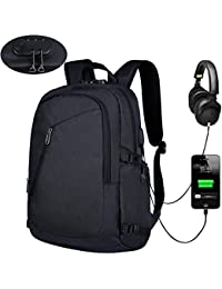 XQXA Anti Theft Backpack with Lock Slim Laptop Backpack with USB Charging Port and Earphone Port Fits 15.6 Inch Computer Notebook Water Resistant Rucksack for Work, College, Business, Trip - Black