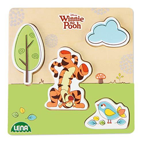 Lena 32121 - Holzlegespiel mit Disney's Winnie The Puuh Figur Tigger, Puzzle für Kinder ab 18 Monaten aus 100% FSC Holz, mit 4 Teilen im Brett, ca. 14 x 14 cm, Puzzleteile separat bespielbar (Puzzle Holz Disney)