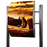 BANJADO Edelstahl Briefkasten groß, Standbriefkasten freistehend 126x53x17cm, Design Briefkasten mit Zeitungsfach Motiv Chinesische Mauer