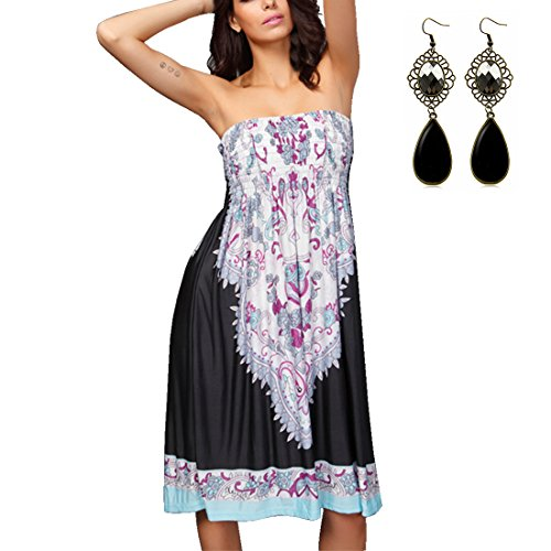M-Queen Robe D'été Bandeau Robe de Plage Bohème Sans Bretelles Floral Tube Elastique Dress Noir 01