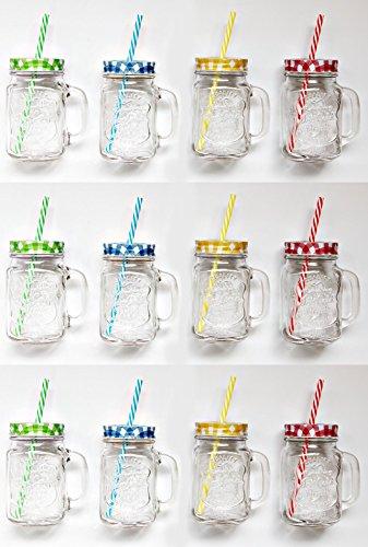 Bada Bing 12er Set Vintage Trinkglas mit Karo Deckel und Strohhalm + Vitamin TT - Mit Metall-krug Deckel
