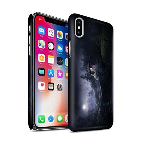 Officiel Elena Dudina Coque / Clipser Matte Etui pour Apple iPhone X/10 / Lagune de Montagne Design / Fantaisie Paysage Collection Forêt Brumeuse