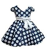SMITHROAD Kinder Mädchen Prinzessin Rockabilly Vintage Kleid V-Ausschnitt Polka Dots Punkte Kostüm mit Schleife Kurzarm Blau Gr.122, Herstellergrösse 130