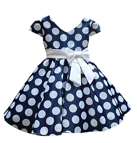 SMITHROAD Kinder Mädchen Prinzessin Rockabilly Vintage Kleid V-Ausschnitt Polka Dots Punkte Kostüm mit Schleife Kurzarm Blau Gr.110-116 (Kleid Kurzarm Kostüme)