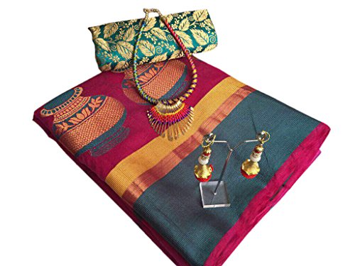 Silverstar Cotton Silk Saree With Blouse Piece (Sss1223-1227_Red_Free Size)