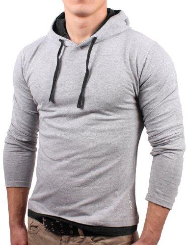 Bents & Mood Slim Fit Kapuzenpullover Shirt Hoodie Longsleeve Pullover, Größe m, hellgrau