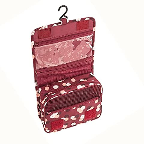 Contever® Multifunction Foldable Beauty Travel Cosmetic Hanging Wash Bag Makeup Case Pouch Toiletry - Wine Red