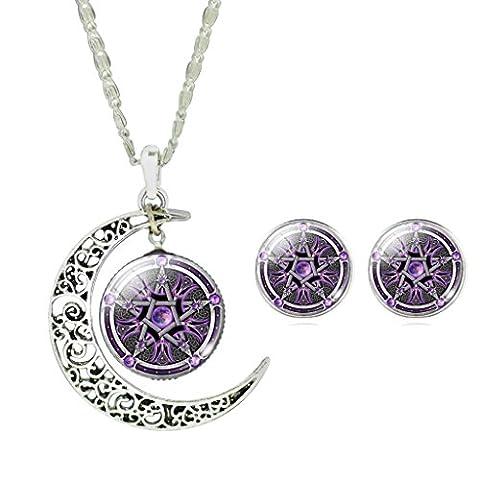 Girls Magic Witch Cross Pentagram Pattern Necklace Purple Star Glass Stud Earrings Jewelry Set