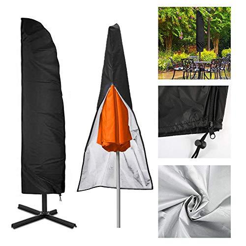 Chengtao Sonnenschirm Abdeckung, Outdoor Ampelschirm Schutzhülle Schwarz 210D Nylon Wasserdichtes Sonnenschirmhülle Regenschirm Abdeckung Abdeckhauben bis 2-4M