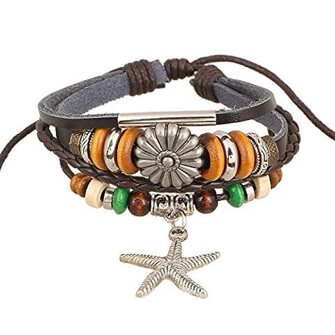 LZHM Neue Art Und Weise Mehrschichtiges Verpackungs-Armband Für Damen Stulpe-Armband Seil Stammes-geflochten Justierbare Armbänder Perlenarmband Seestern-Anhänger