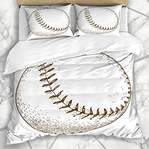 Bettbezug-Sets Doodle Antique Gravur Baseball Ball Sport Erholung Softball Vintage Zeichnung Radierung Tinte Leder Mikrofaser Bettwäsche mit 2 Pillow Shams - Tinte Sham