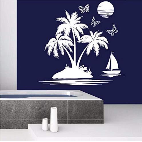 Lvabc Badezimmer Wandtattoo Sailfish Sea Beach Wandaufkleber Abnehmbare Palm Tree Sunset Wallpaper Nautische Thema Dekoration 43X42 Cm