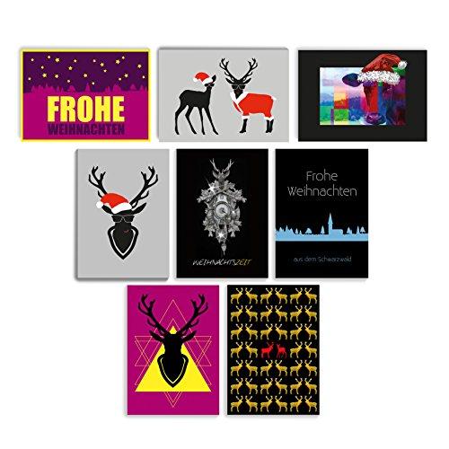 8 verschiedene Weihnachts-Postkarten im 8er-Set