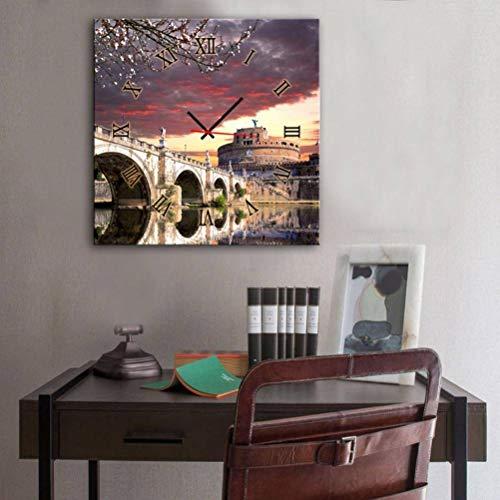 TWL LTD Modernes Wohnzimmer Esszimmer Dekoration Malerei Stille Uhr Leinwand Gemälde Einzelne Wanduhr Landschaft Serie Enthält Rahmen, Uhren und Gemälde, 1PCS, 60 * 60 cm - Landschaft Einzelne