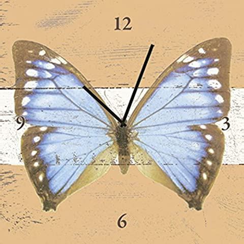 Clock Wall Clock on canvas Watches Radio controlled Artland Animal Butterflies D. S Blue Butterfly in Wood in Different Sizes Huge selection in our Dealer shop - Analoguhr 30x30