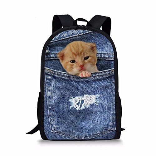 spArt Rucksack für Mädchen/Jungen für Schule Leichte Leinwand Bookbag Rucksack für Kinder Scottish Fold gedruckt -