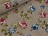 Leinen Look Rosen PINK ROSA Dekostoff Muster Floral